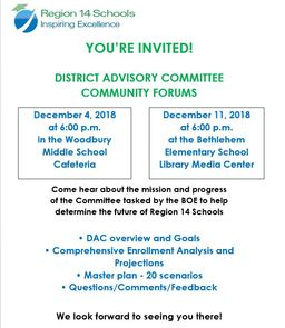 District Advisory Committee to host public forums on December 4 & 11